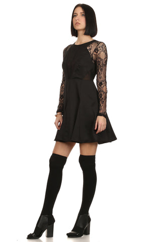 Kelly - A-Line Little Black Lace Dress