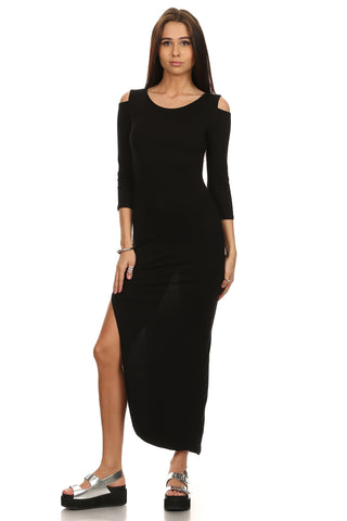 Black Bodycon Maxi Dress with Cut Out Shoulders-1