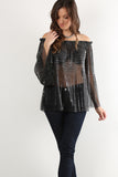 Jesse - Pleated Off Shoulder Tinsel Threading Sheer Top