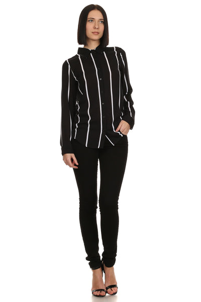 Black and White Striped Long Sleeve Shirt-1