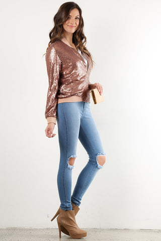 Kendra - Sequin Sequence Bomber Jacket