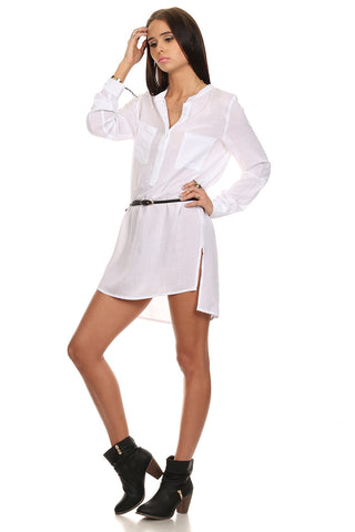 White Boyfriend Tunic Shirt-1