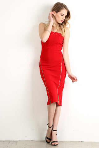 Zippered Detail Midi Length Tube Dress-1