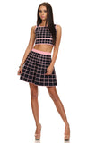 Black & Pink Checkered Skirt Set-1
