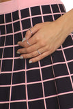 Black & Pink Checkered Skirt Set-10