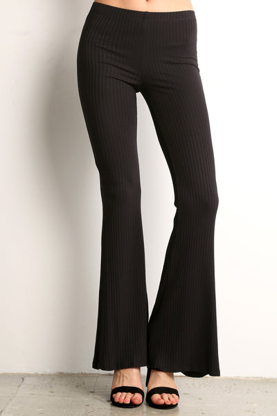 Ribbed Knit Flared Pants-8