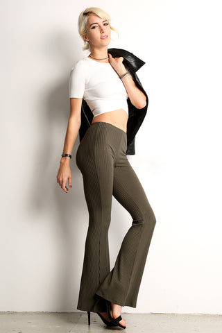 Ribbed Knit Flared Pants-1