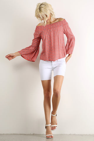 Off the Shoulder Smocked Long Bell Sleeve Top-1