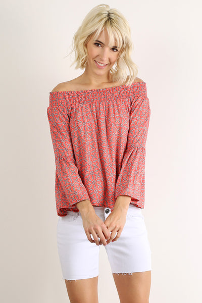 Off the Shoulder Smocked Long Bell Sleeve Top-2