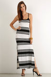 High Side Slit Striped Pattern Ribbed Maxi Dress-2