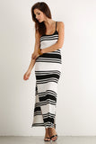 High Side Slit Striped Pattern Ribbed Maxi Dress-3