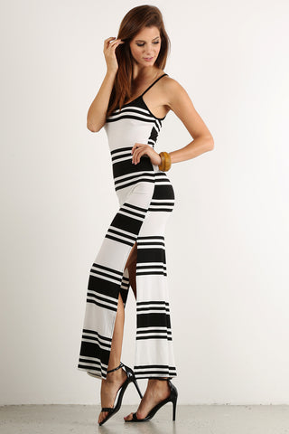 High Side Slit Striped Pattern Ribbed Maxi Dress-1