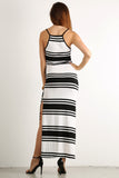 High Side Slit Striped Pattern Ribbed Maxi Dress-5