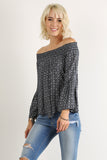 Off the Shoulder Smocked Long Bell Sleeve Top-8