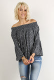 Off the Shoulder Smocked Long Bell Sleeve Top-9