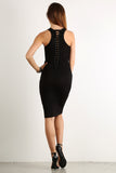 Seductive Shoelace Laced Up Back Midi Dress-1