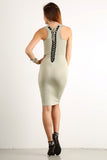 Seductive Shoelace Laced Up Back Midi Dress-7