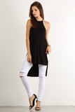 Draped Back Drop X Cross Back Hi Lo Top-3