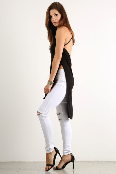 Draped Back Drop X Cross Back Hi Lo Top-2