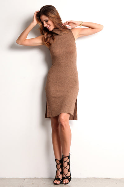 Taneri Skin Tight Knit Sweater Dress With Turtle Neck