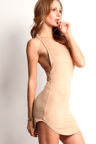 Faux Suede Racerback Tank Top Dress-3