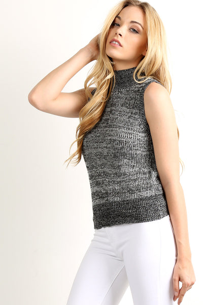 Mock Neck Sleeveless Sweater Top Vest-18