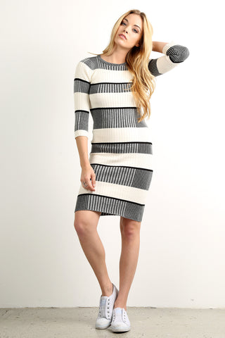 Engineer Striped Sweater Knit Short Dress-1