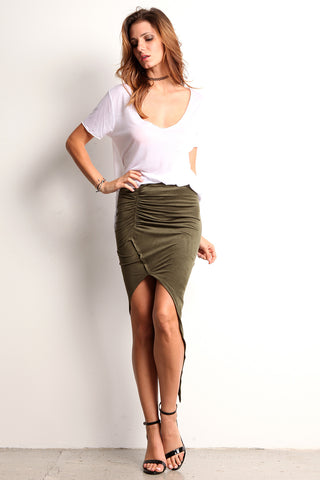 Faux Suede Ruched Hi Lo Skirt-1