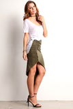 Faux Suede Ruched Hi Lo Skirt-4