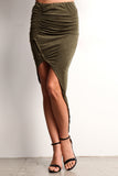 Faux Suede Ruched Hi Lo Skirt-6