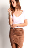 Faux Suede Ruched Hi Lo Skirt-16