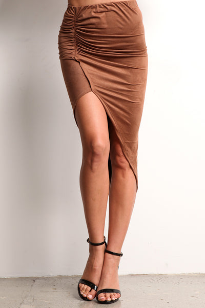 Faux Suede Ruched Hi Lo Skirt-17