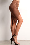 Faux Suede Ruched Hi Lo Skirt-18