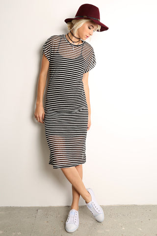 Sheer Striped Midi Dress-1