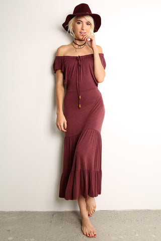 Off Shoulder Open Back Dress-1