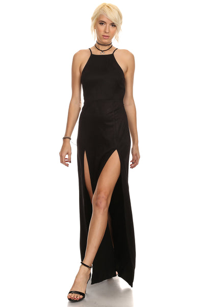 Norma - Faux Suede Laced Up Maxi Dress