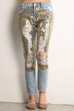 Destroyed & Torn Sequined Jeans-4