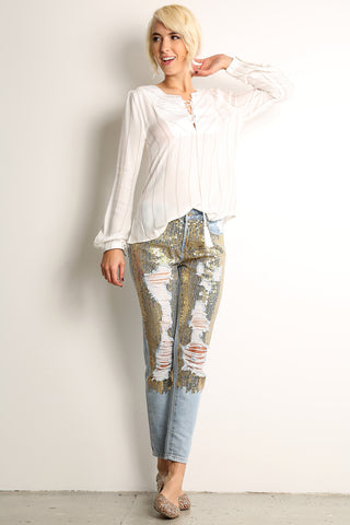 Destroyed & Torn Sequined Jeans-1
