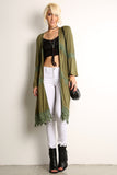 Crochet Trimmed Long Cardigan Vest-1
