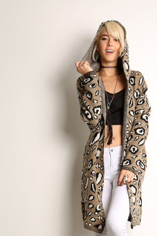 Animal Print Hooded Cardigan Sweater-5