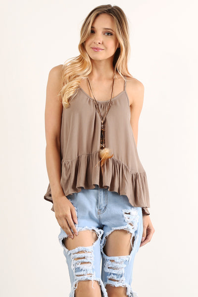 Laced Up Back Ruffled Cami Top-8