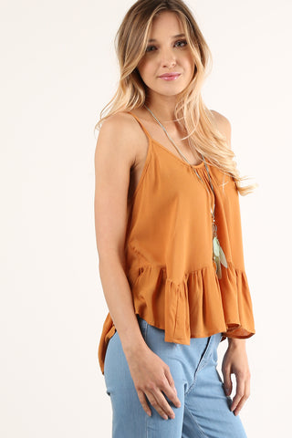 Beatrice - Laced Up Back Ruffled Cami Top