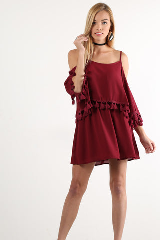 Genevieve - Cold Shoulder Tassel Trim Short Dress