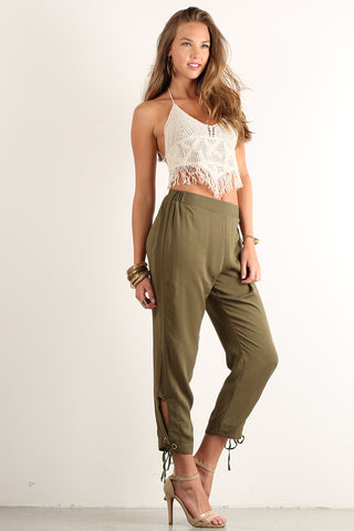 Colleen - Tied Side Detail Pull-On Woven Pants