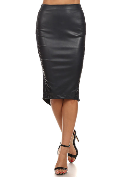 Faux Leather Midi Skirt-2