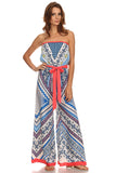 Tribal Print Tube Wide Leg Jumpsuit-2