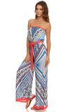 Tribal Print Tube Wide Leg Jumpsuit-3