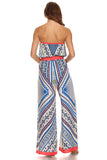 Tribal Print Tube Wide Leg Jumpsuit-4