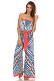 Tribal Print Tube Wide Leg Jumpsuit-5