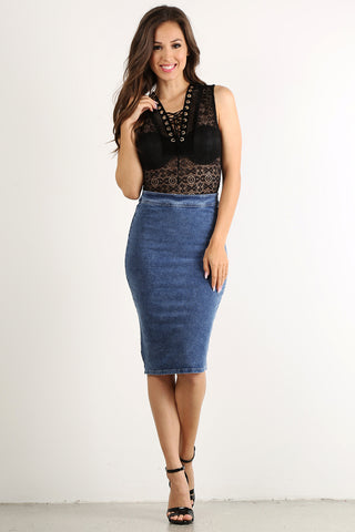 Denim Jean High Waist Pencil Skirt-1